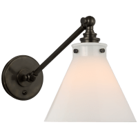 Parkington Single Library Wall Light in Bronze with White Glass