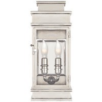 Linear Mini Wall Lantern in Polished Nickel with Clear Glass