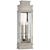 Linear Large Wall Lantern in Antique Nickel with Clear Glass