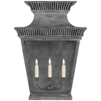 Elsinore Extra Large 3/4 Wall Lantern in Weathered Zinc with Clear Glass
