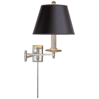 Dorchester Swing Arm in Polished Nickel with Black Shade