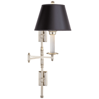 Dorchester Double Backplate Swing Arm in Polished Nickel with Black Paper Shade