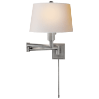 Chunky Swing Arm in Antique Nickel with Natural Paper Shade