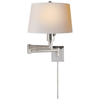 Chunky Swing Arm in Polished Nickel with Natural Paper Shade