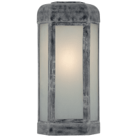 Dublin Large Faceted Sconce in Weathered Zinc with Frosted Glass