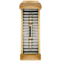 Dunmore Curved Glass Louver Sconce in Antique-Burnished Brass with Clear Ribbed Glass