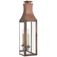 Charlestown Large 3/4 Wall Lantern in Natural Copper with Clear Glass