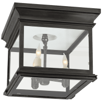 Club Small Square Flush Mount in Bronze with Clear Glass