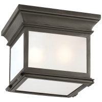 Club Small Square Flush Mount in Bronze with Frosted Glass