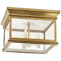 Club Large Square Flush Mount in Antique-Burnished Brass with Clear Glass