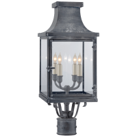 Bedford Post Lantern in Weathered Zinc with Clear Glass