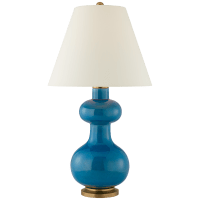 Chambers Medium Table Lamp in Aqua Crackle with Natural Percale Shade