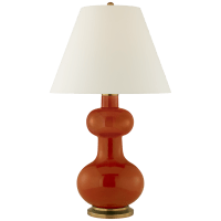 Chambers Large Table Lamp in Cinnabar with Natural Percale Shade