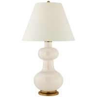 Chambers Large Table Lamp in Ivory with Natural Percale Shade