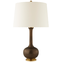Coy Medium Table Lamp in Matte Bronze with Natural Percale Shade