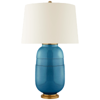 Newcomb Medium Table Lamp in Aqua Crackle with Natural Percale Shade
