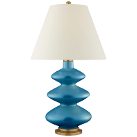 Smith Large Table Lamp in Aqua Crackle with Natural Percale Shade