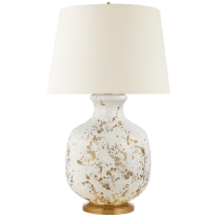 Buatta Large Table Lamp in Gold Splatter with Linen Shade