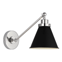 Wellfleet Single Arm Cone Task Sconce Midnight Black and Polished Nickel