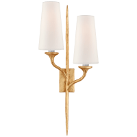Iberia Double Left Sconce in Antique Gold Leaf with Linen Shades