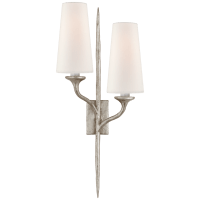 Iberia Double Left Sconce in Burnished Silver Leaf with Linen Shades