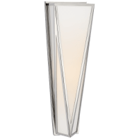 Lorino Medium Sconce in Polished Nickel with White Glass