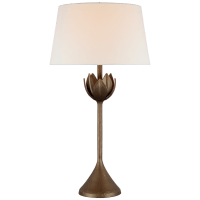 Alberto Large Table Lamp in Antique Bronze Leaf with Linen Shade