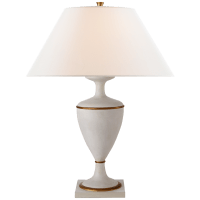 Amphora Table Lamp in Vintage White and Gild with Linen Shade