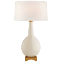 Antoine Large Table Lamp in Ivory with Linen Shade