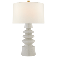 Andreas Medium Table Lamp in White Crackle with Linen Shade