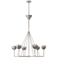 Alberto Large Single Tier Chandelier in Burnished Silver Leaf