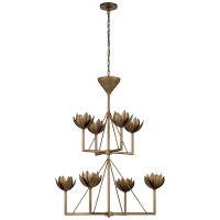 Alberto Medium Two Tier Chadnelier in Antique Bronze Leaf