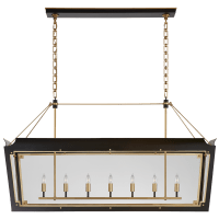 Caddo Large Linear Lantern in Matte Black and Gild with Clear Glass