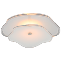 "Leighton 14"" Layered Flush Mount in Polished Nickel with Cream Tinted Glass"