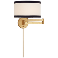 Walker Swing Arm Sconce in Gild with Cream Linen Shade with Black Linen Trim