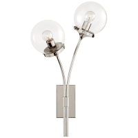 Prescott Left Sconce in Polished Nickel with Clear Glass