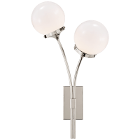 Prescott Right Sconce in Polished Nickel with White Glass