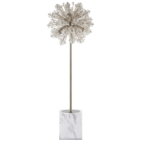 Dickinson Buffet Table Lamp in Polished Nickel and White Marble with Clear Glass and Cream Pearls