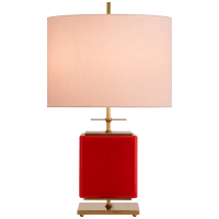 Beekman Small Table Lamp in Maraschino Reverse Painted Glass with Pink Linen Shade
