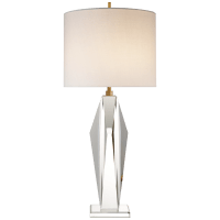 Castle Peak Table Lamp in Crystal with Cream Linen Shade