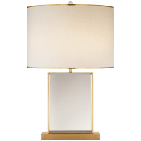 Bradford Large Table Lamp in Mirror and Soft Brass with Cream Linen Shade with Soft Brass