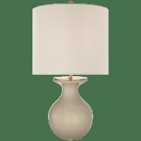 Albie Small Desk Lamp in Dove Grey with Cream Linen Shade