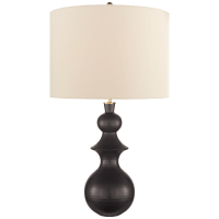 Saxon Large Table Lamp in Metallic Black with Cream Linen Shade