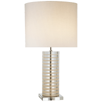 Grayson Stacked Table Lamp in Crystal with Cream Accents with Cream Linen Shade