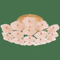 Leighton Medium Flush Mount in Soft Brass with Blush Tinted Glass