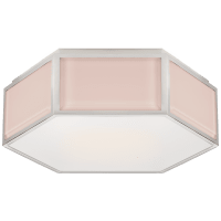 Bradford Small Hexagonal Flush Mount in Blush and Polished Nickel with Frosted Glass