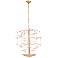 Leighton Medium Cascading Chandelier in Soft Brass with Blush Tinted Glass