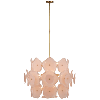 Leighton Large Barrel Chandelier in Soft Brass with Blush Tinted Glass