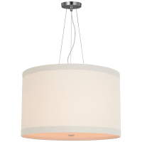 Walker Medium Hanging Shade in Burnished Silver Leaf with Linen Shade