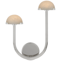 """Pedra 15"""" Asymmetrical Left Sconce in Polished Nickel with Alabaster"""